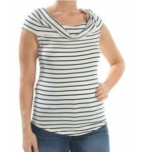 Free People Small Ivory Striped Melbourne Top 3X85
